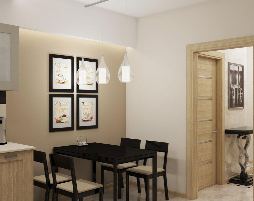 Визуализация столовой зоны в интерьере кухни