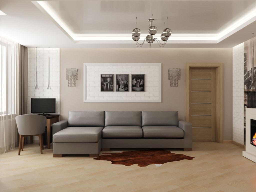 Визуализация дивана в интерьере гостиной