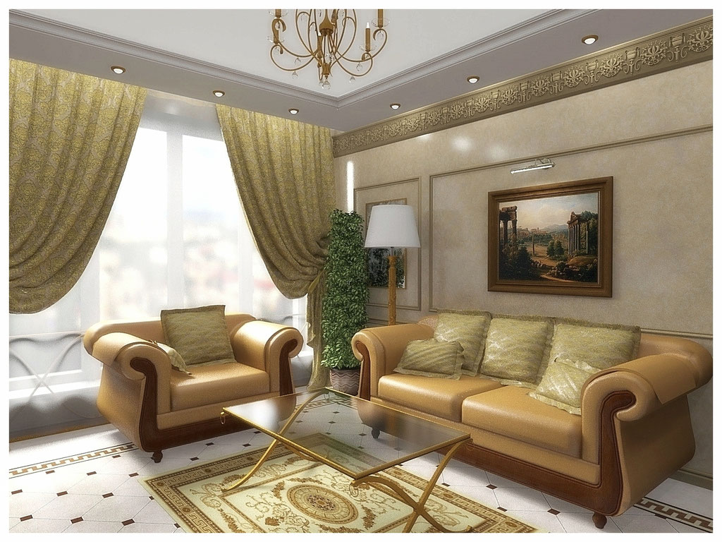 Дизайн интерьеров квартир. Гостиная, вид 1.