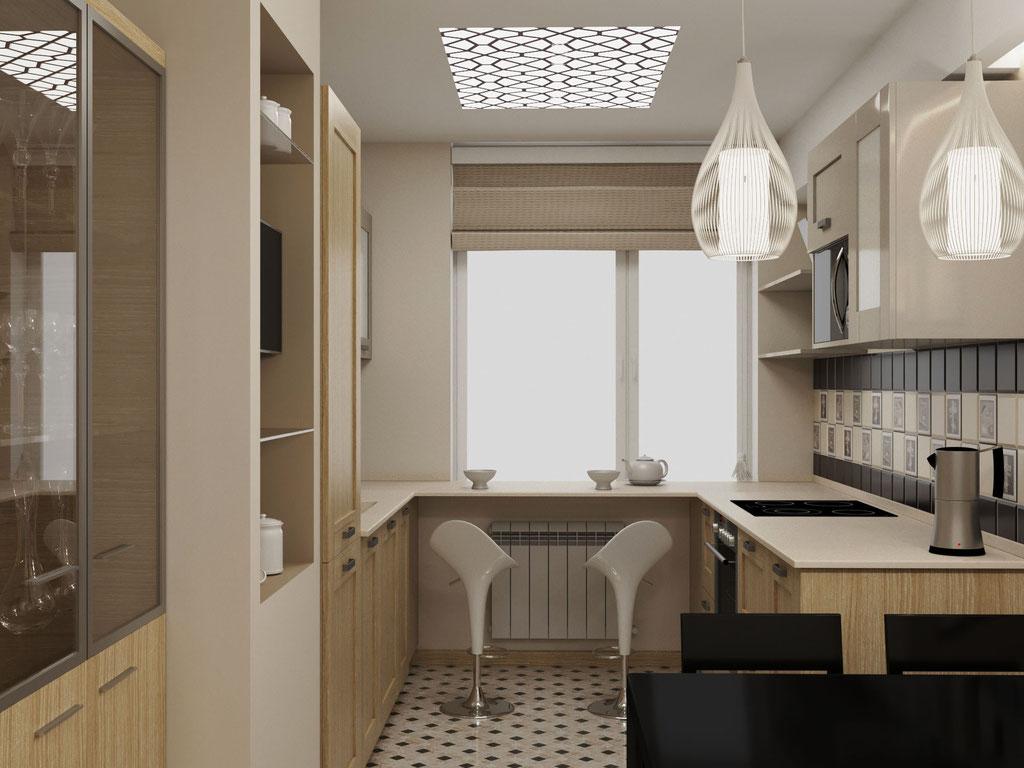 Визуализация барной стойки в интерьере кухни