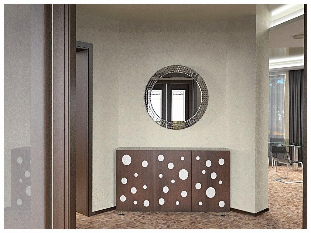 Дизайн интерьеров дома. Холл первого этажа вид 1.