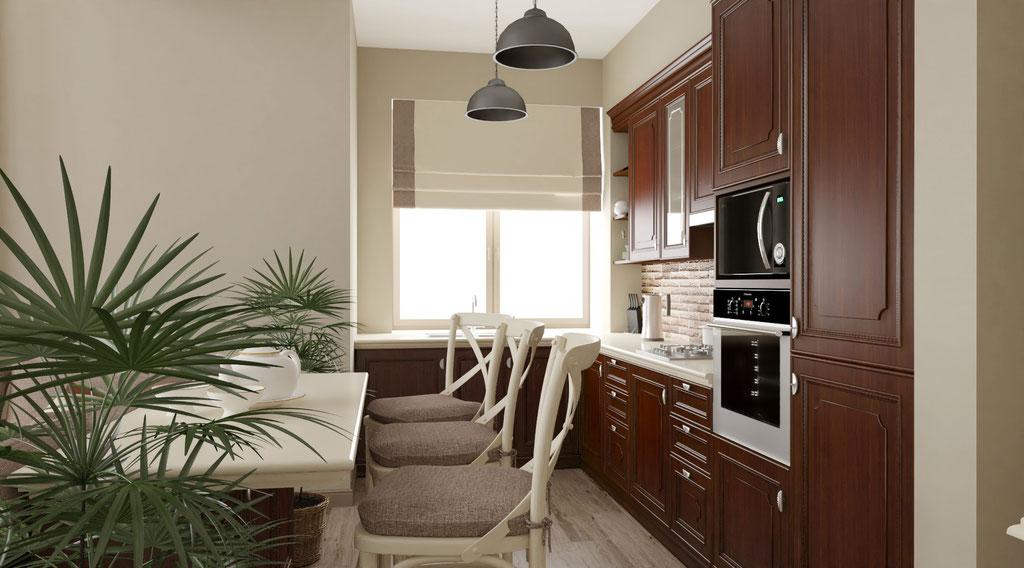 Дизайн интерьеров коттеджа с единым пространством кухни-гостиной