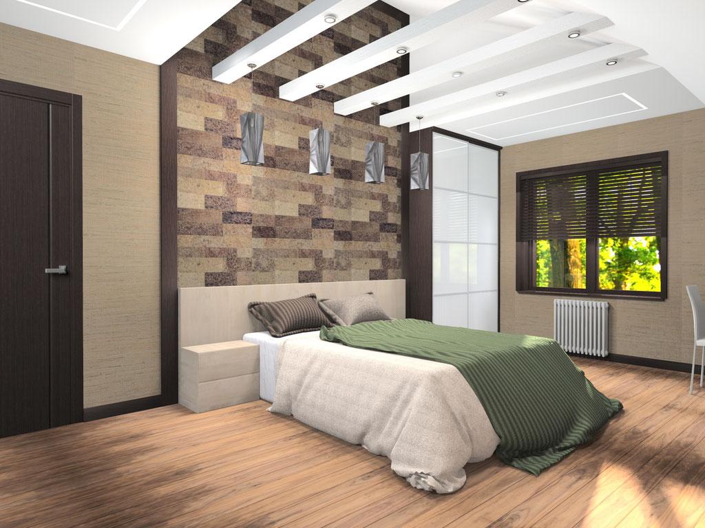 Визуализация интерьера большой спальни