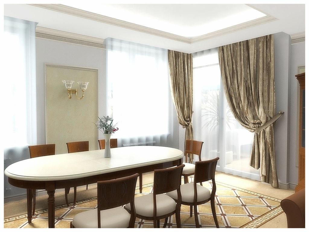 Дизайн интерьеров квартир. Кухня-столовая.