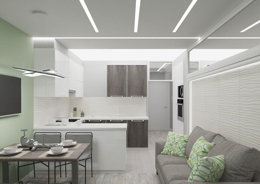 Дизайн интерьера кухни-гостиной. Вид 3