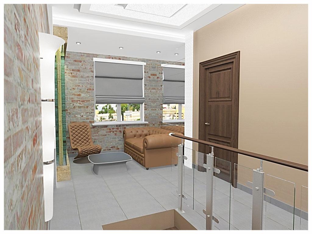 Дизайн интерьеров офиса. Холл второго этажа 3.