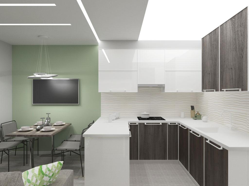Дизайн интерьера кухни-гостиной. Вид 2