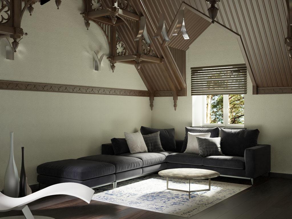 Дизайн интерьера мансардного этажа. Вид 4