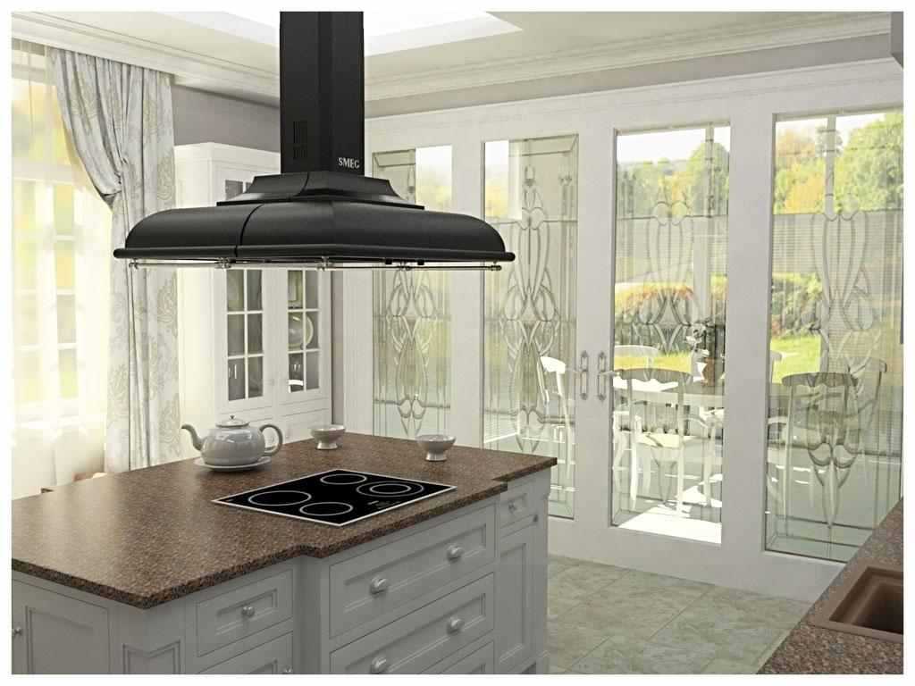 Дизайн интерьеров коттеджа в современной классике. Кухня 2.