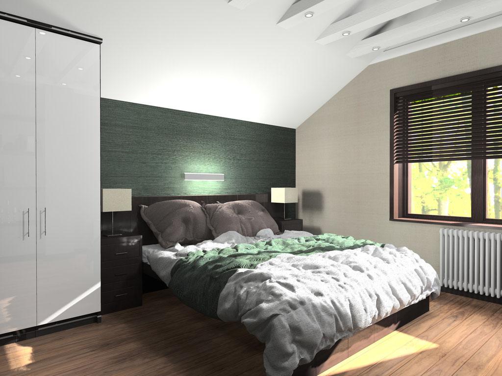 Визуализация интерьера малой спальни