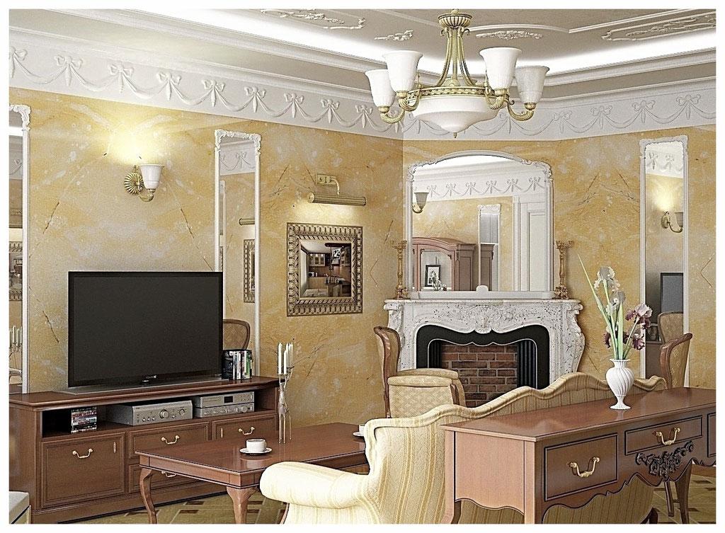 Дизайн интерьеров квартиры в дворцовом стиле. Гостиная 3.