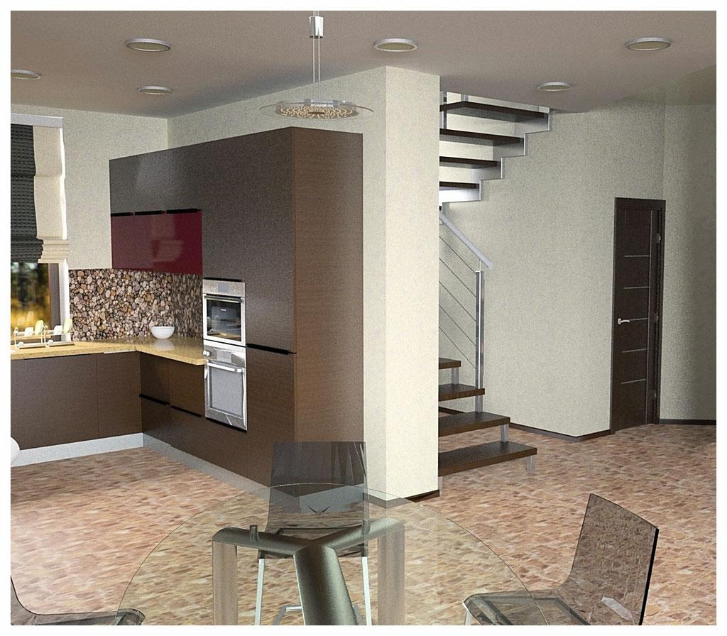 Дизайн интерьеров дома. Кухня вид 1.