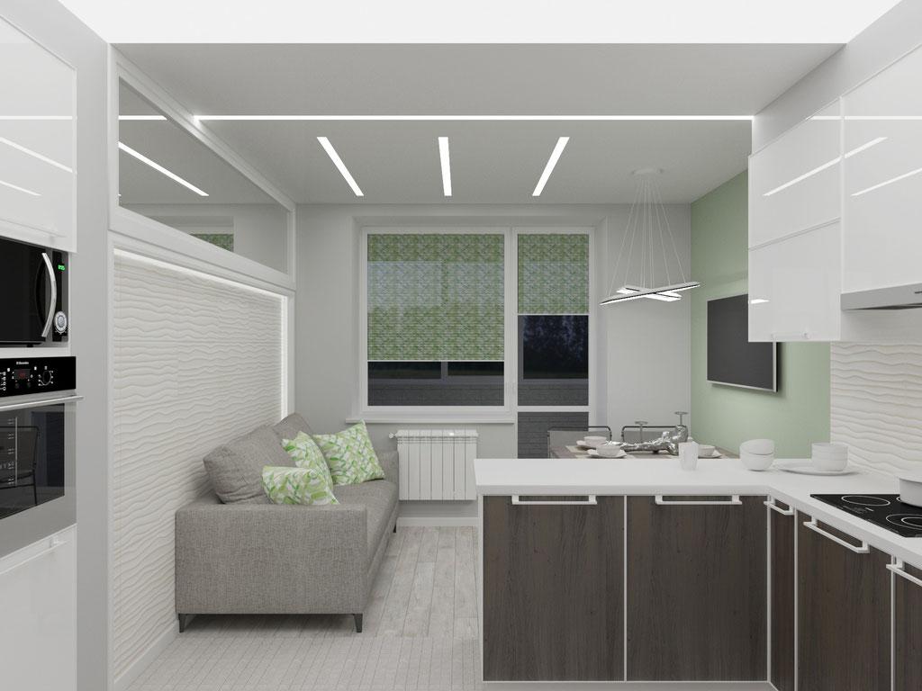 Дизайн интерьера кухни-гостиной. Вид 1