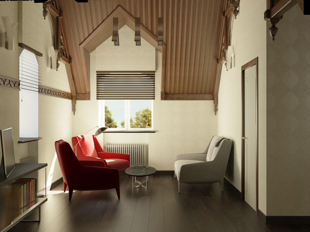 Дизайн интерьера мансардного этажа. Вид 1