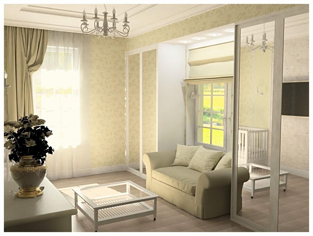 Дизайн интерьеров коттеджа в современной классике. Гостевая спальня 4.