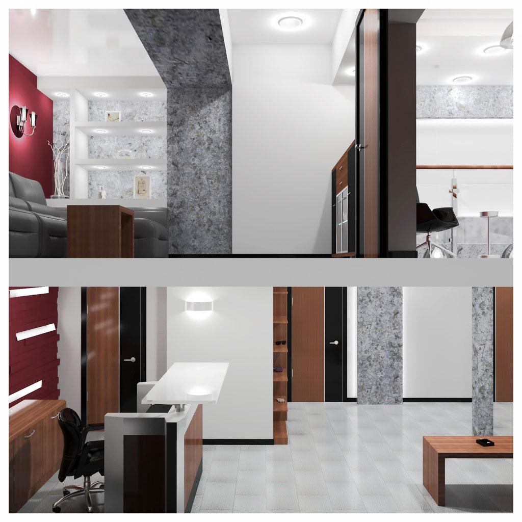 Дизайн интерьеров первого и второго этажей офиса