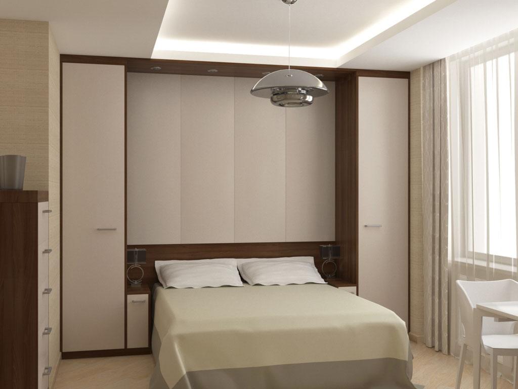 Визуализация кровати в интерьере спальни