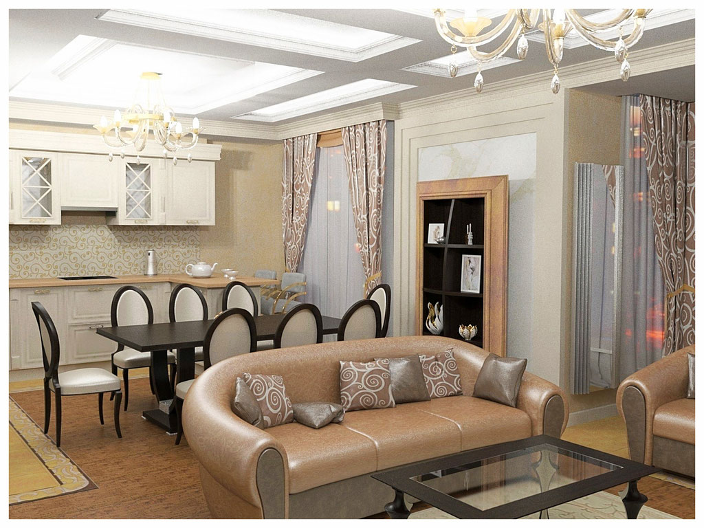 Дизайн интерьеров квартиры в эклектике. Гостиная-кухня 2.