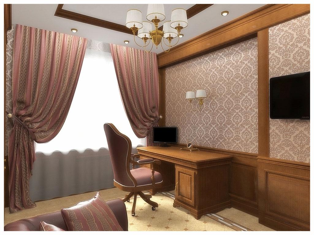 Дизайн интерьеров квартир. Кабинет, вид 2.