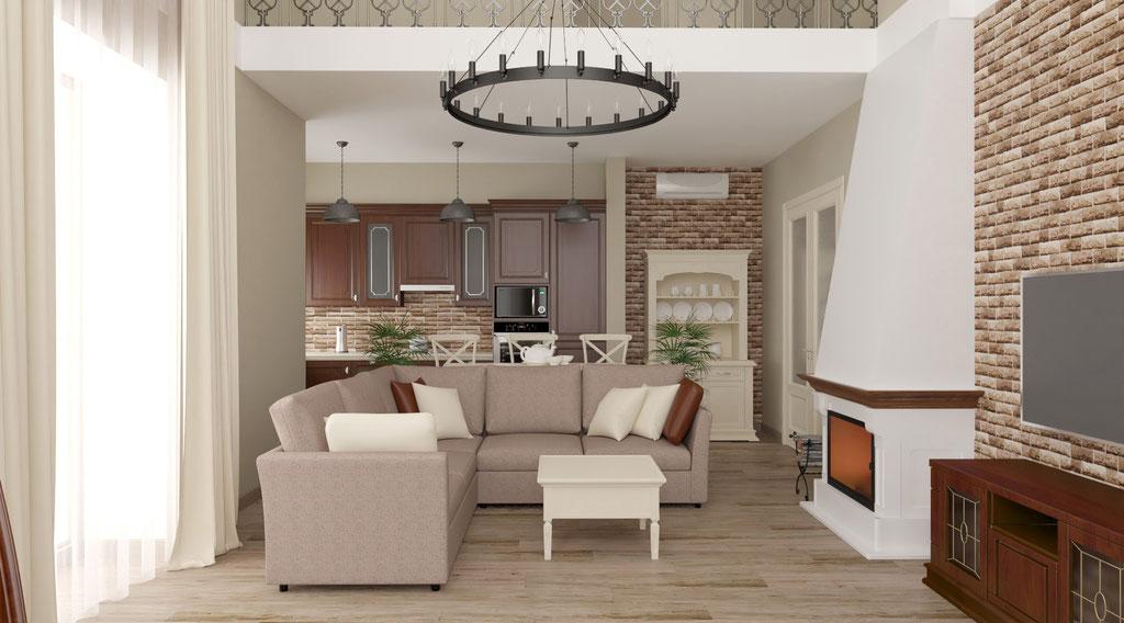 Дизайн интерьеров коттеджа с камином