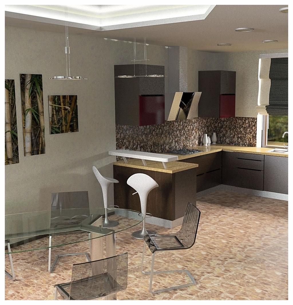 Дизайн интерьеров дома. Кухня вид 2.