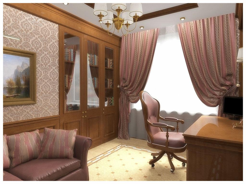 Дизайн интерьеров квартир. Кабинет, вид 1.
