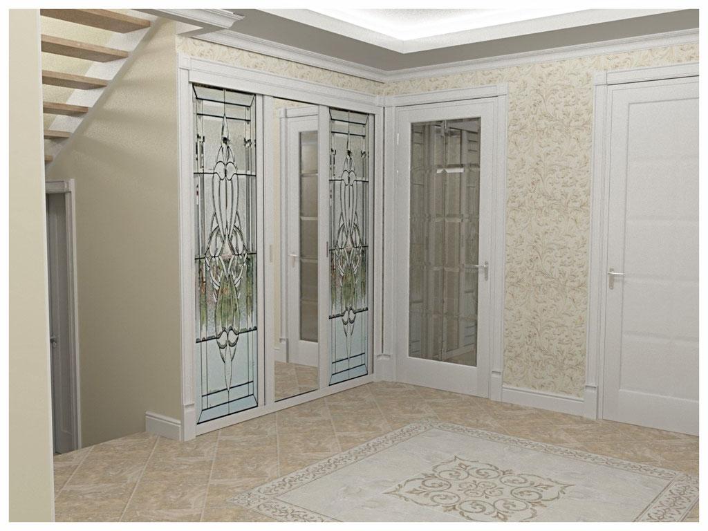 Дизайн интерьеров коттеджа в современной классике. Холл 1.