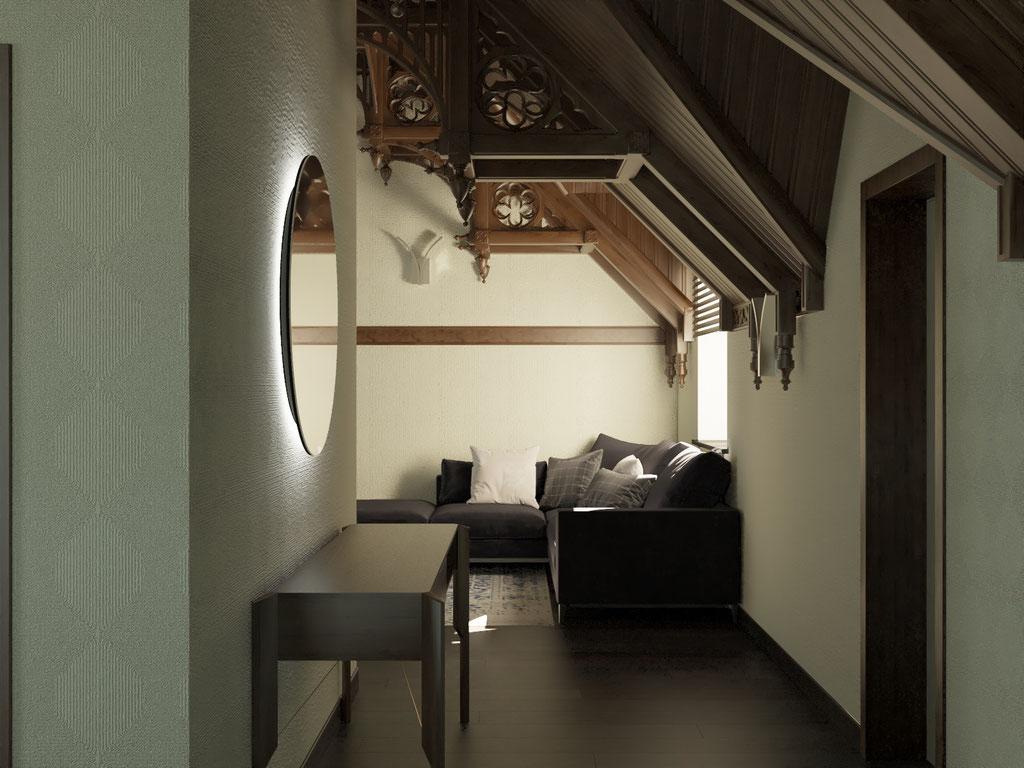 Дизайн интерьера мансардного этажа. Вид 3