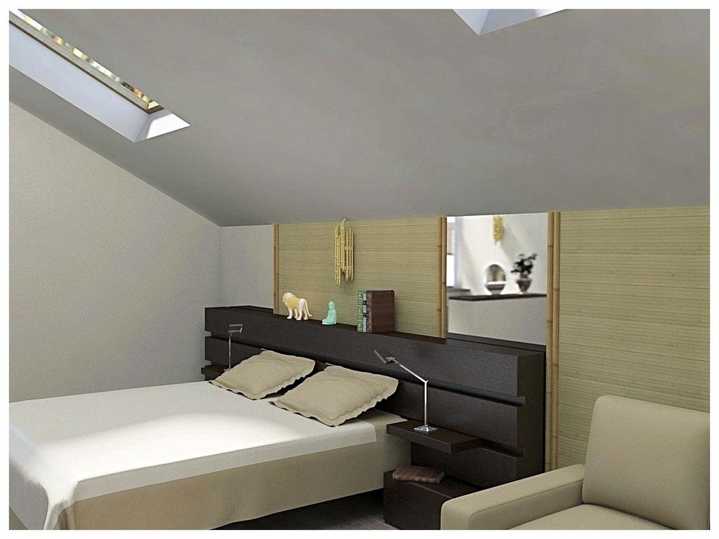 Дизайн интерьеров дома. Спальня вид 1.