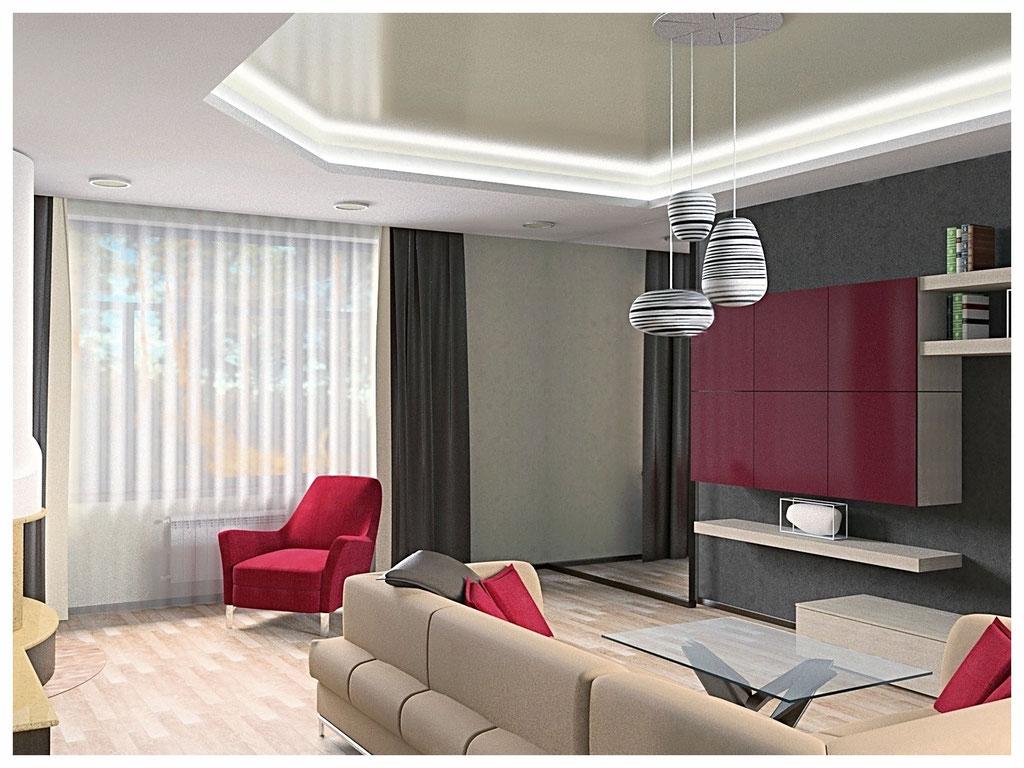 Дизайн интерьеров дома. Гостиная вид 2.