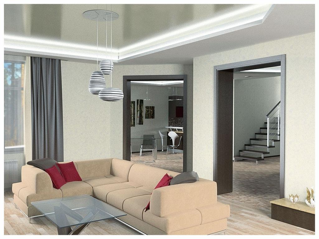 Дизайн интерьеров дома. Гостиная вид 1.