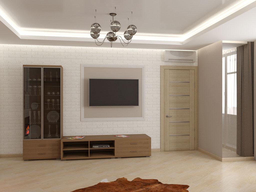 Визуализация корпусной мебели в интерьере гостиной