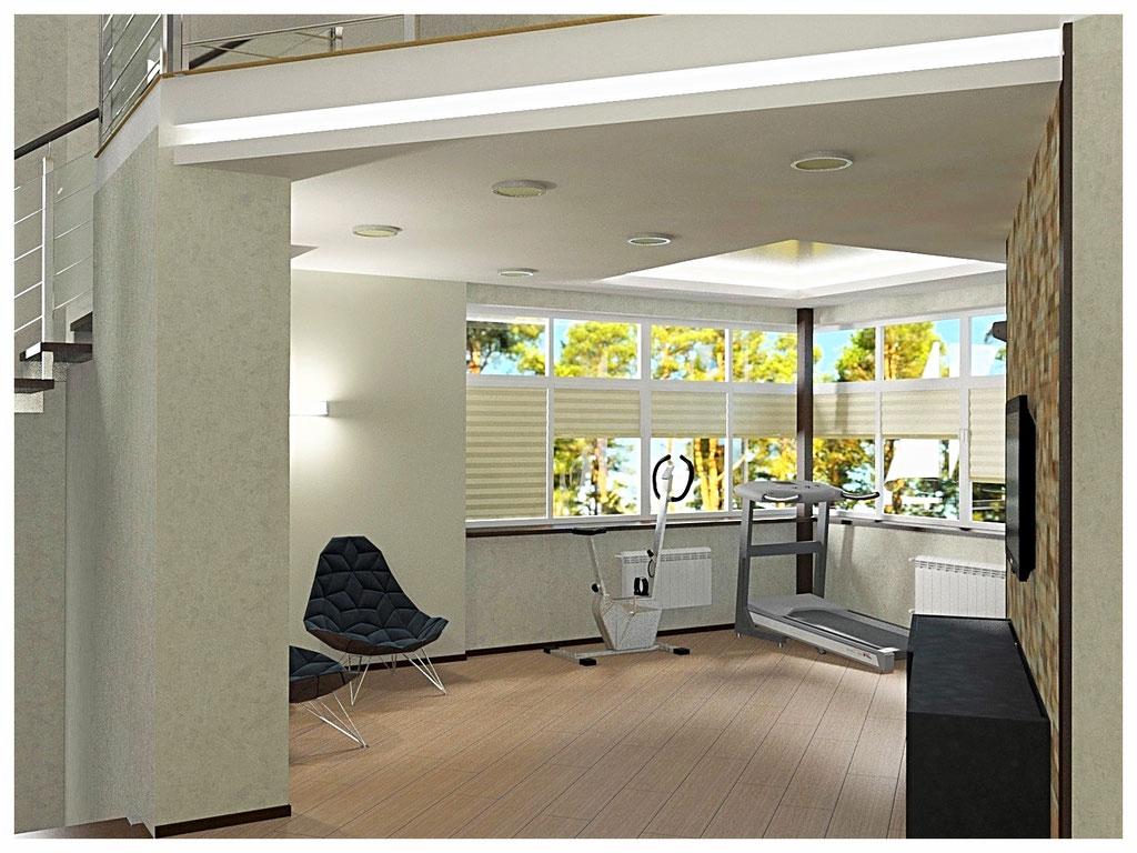 Дизайн интерьеров дома. Холл второго этажа вид 1.