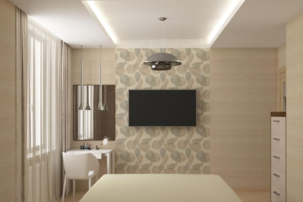Визуализация стены напротив кровати в интерьере спальни