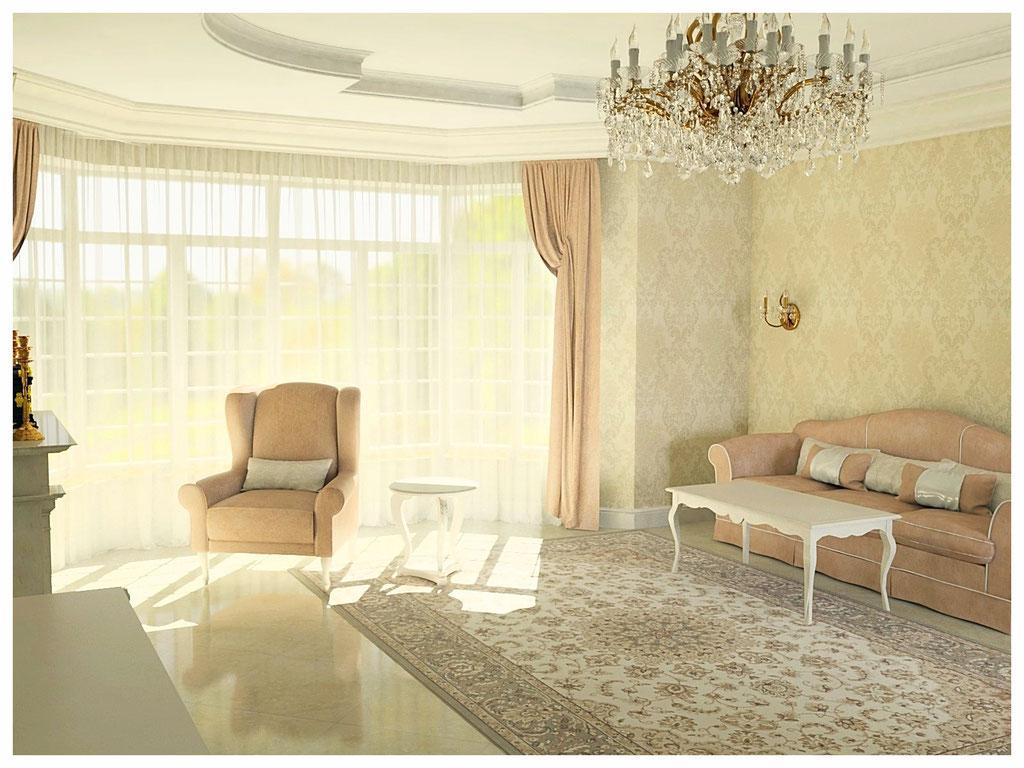 Дизайн интерьеров дома в классическом стиле. Гостиная 3.