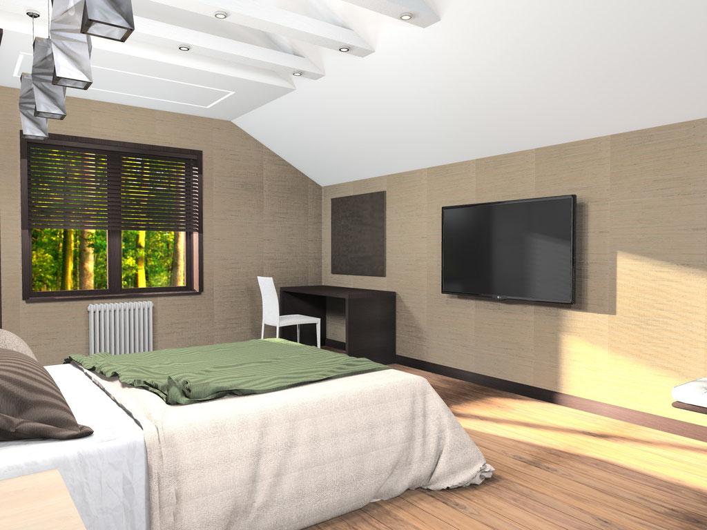 Визуализация потолка в интерьере в большой спальне