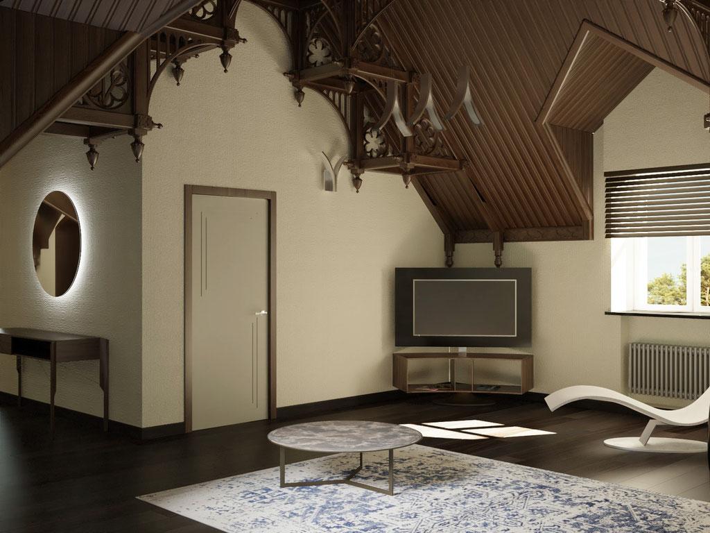 Дизайн интерьера мансардного этажа. Вид 5