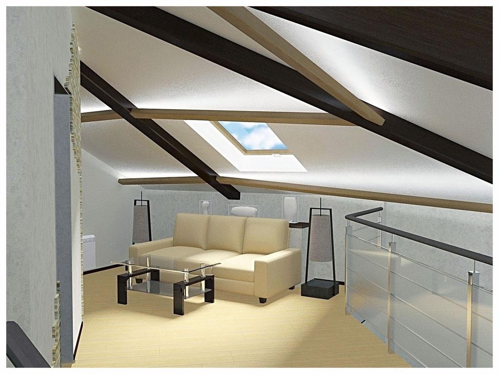 Дизайн интерьеров дома. Зона отдыха на третьем этаже.