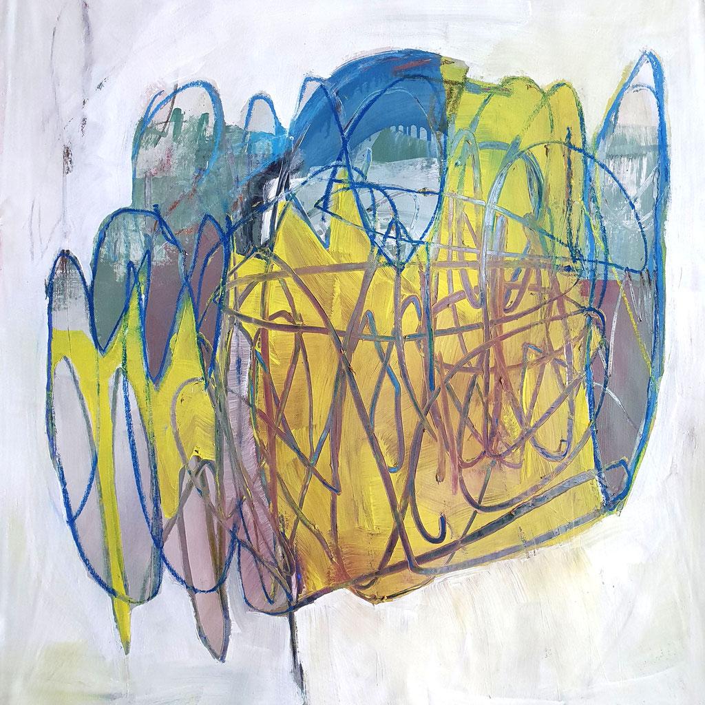 // o.t. // 2020 / acryl und kreide auf leinwand / 80 x 80 cm