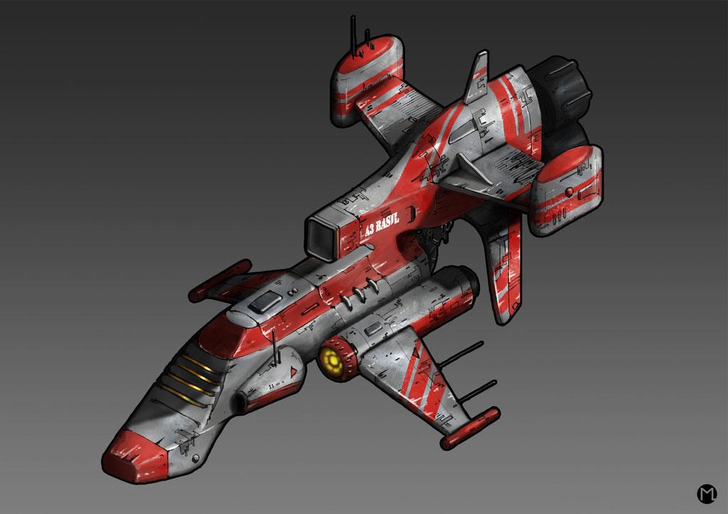 Artwork - Illustration - Spaceship - Military Aircraft A3 Basil