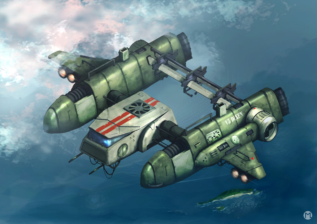 Artwork - Illustration - Spaceship - Cargo Aircraft V5 Dixen