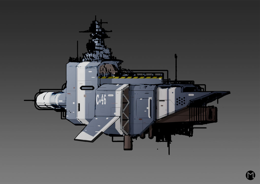 Artwork - Illustration - Spaceship - Cargo Aircraft C-46