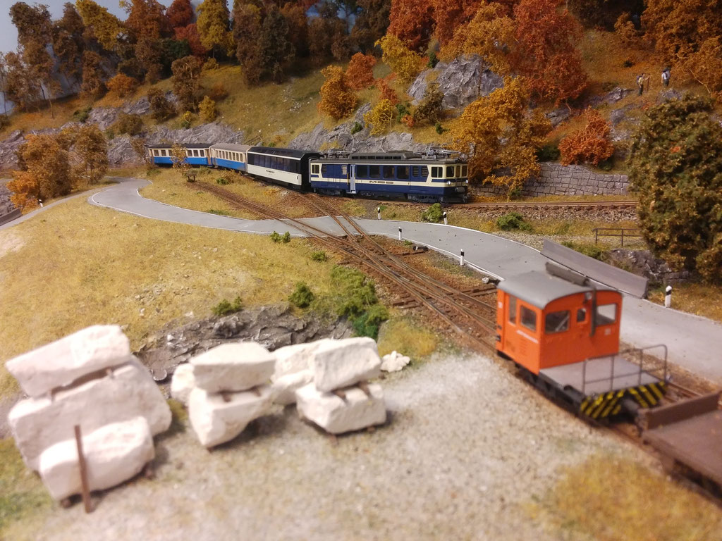 Die Rangierabteilung hat sich in der Anschlussstelle eingeschlossen, so dass der Regionalzug gefahrlos passieren kann.