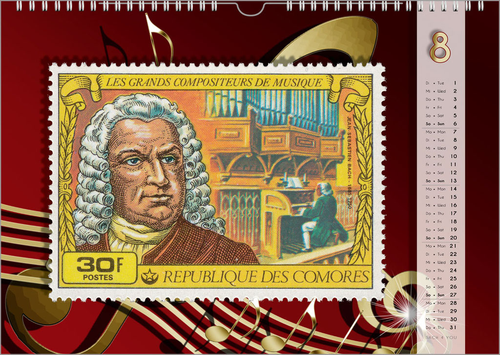 Der Bach-Briefmarken-Kalender ... Bach-Kalender sind Musikkalender und Musik-Geschenke.