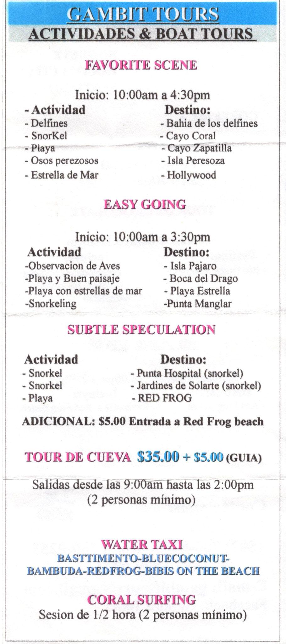 Gambit Boattour - Bocas del Toro