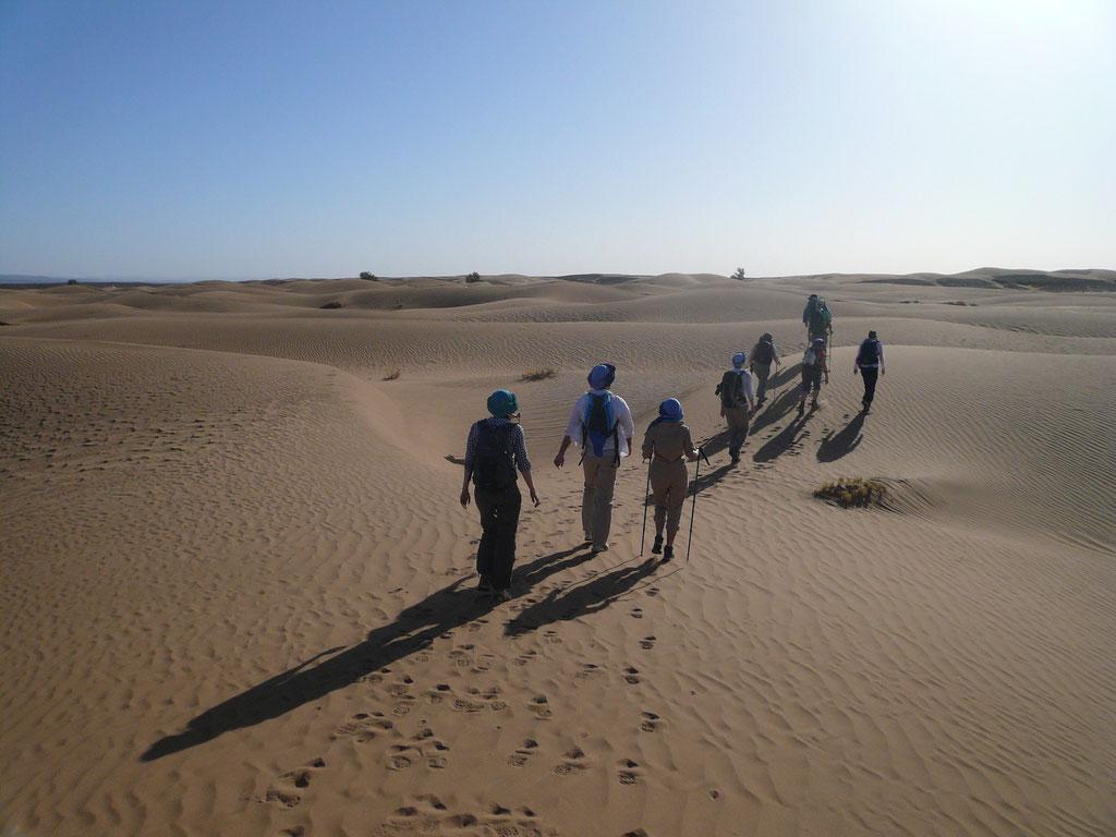 Début de trek dans le désert