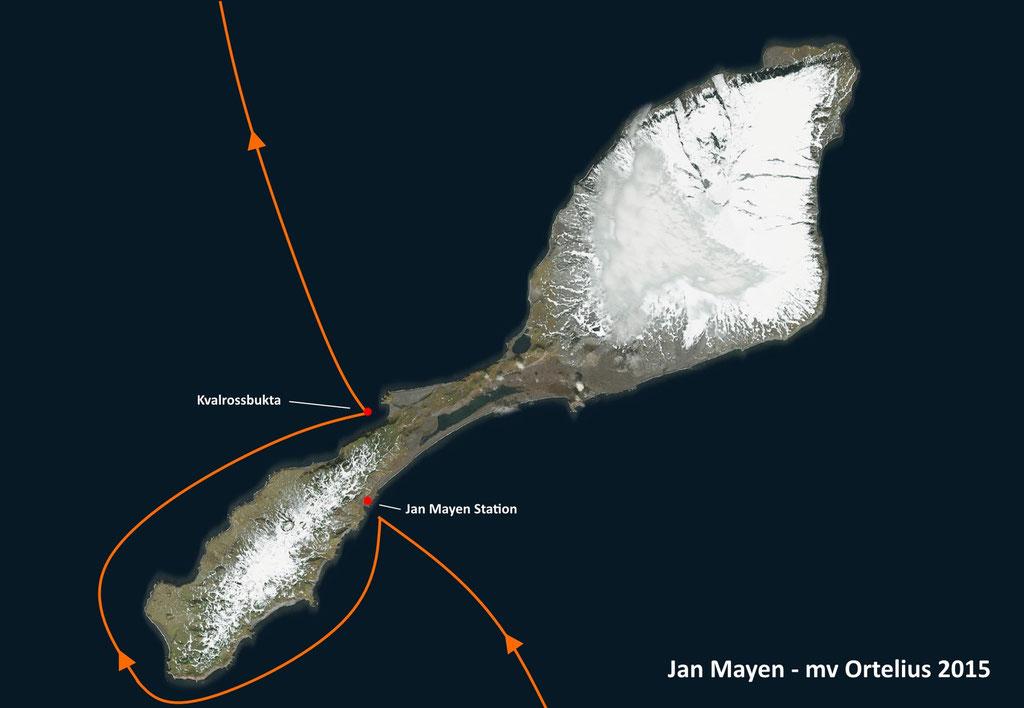 Route rond Jan Mayen (Noors eiland). Bedoeling was een wandeling van het ene naar het andere punt, maar door het weer kon dat uiteindelijk niet doorgaan.