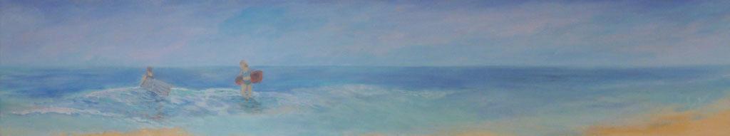 -.- Glückliche Kinder mit Luftmatratzen im Meer