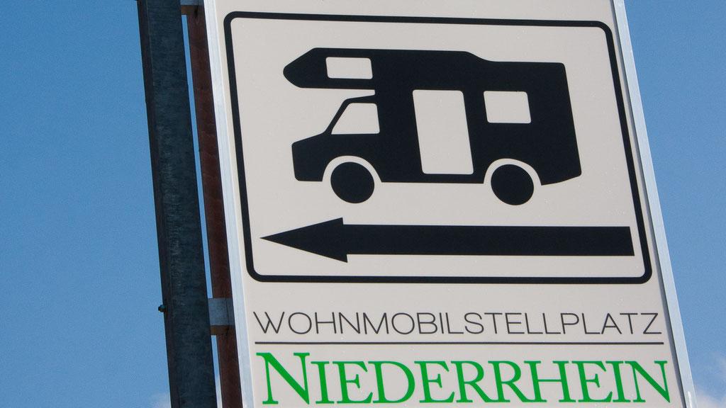 Beschilderung - Wohnmobilstellplatz Niederrhein in Neukirchen-Vluyn