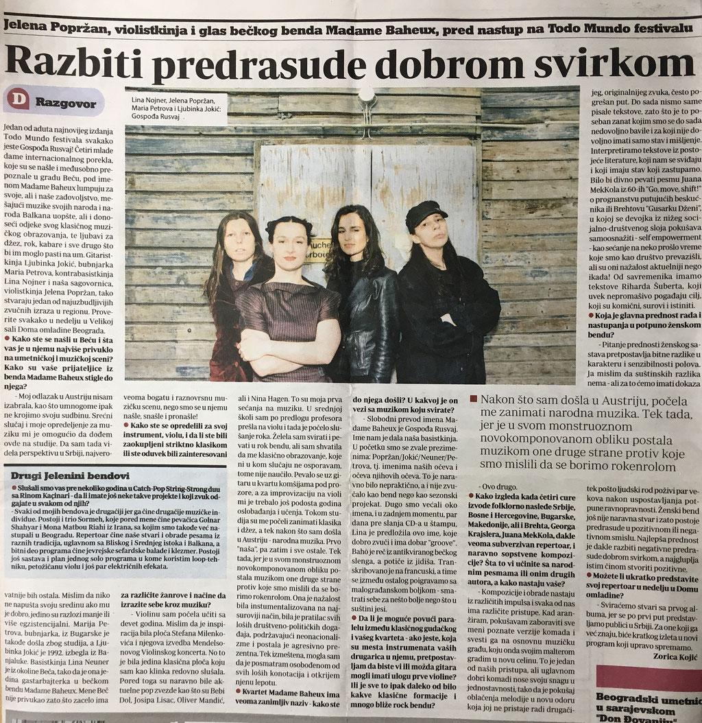 """Danas"", (Zorica Kojić), April 2016, Belgrade/RS"